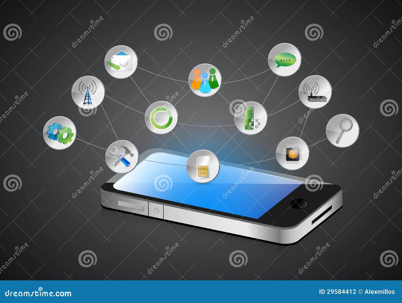 Mobiler Smartphone, APP-Symbole Und Seine Funktionen Stock Abbildung ...