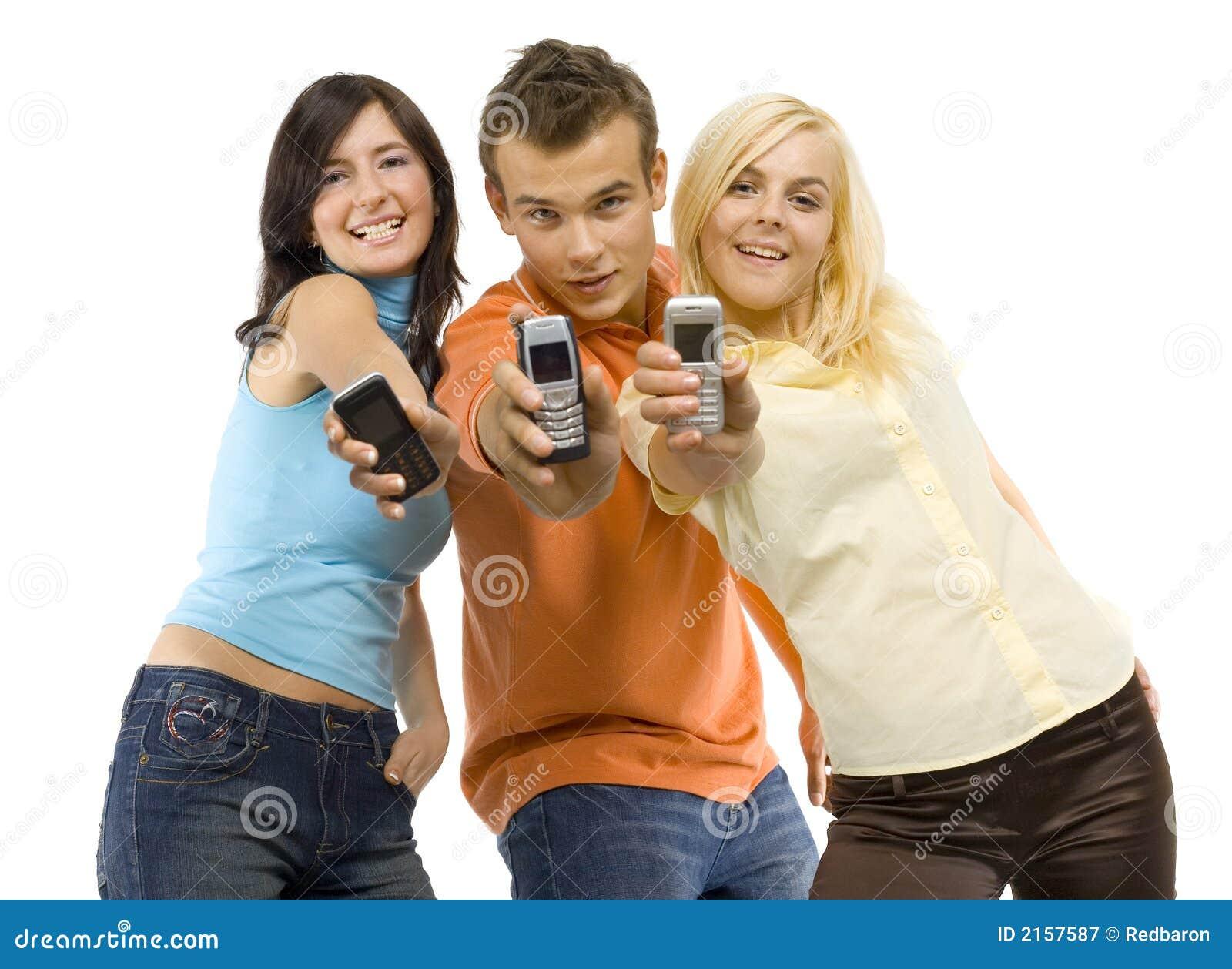 Mobiler som ler tonåringar