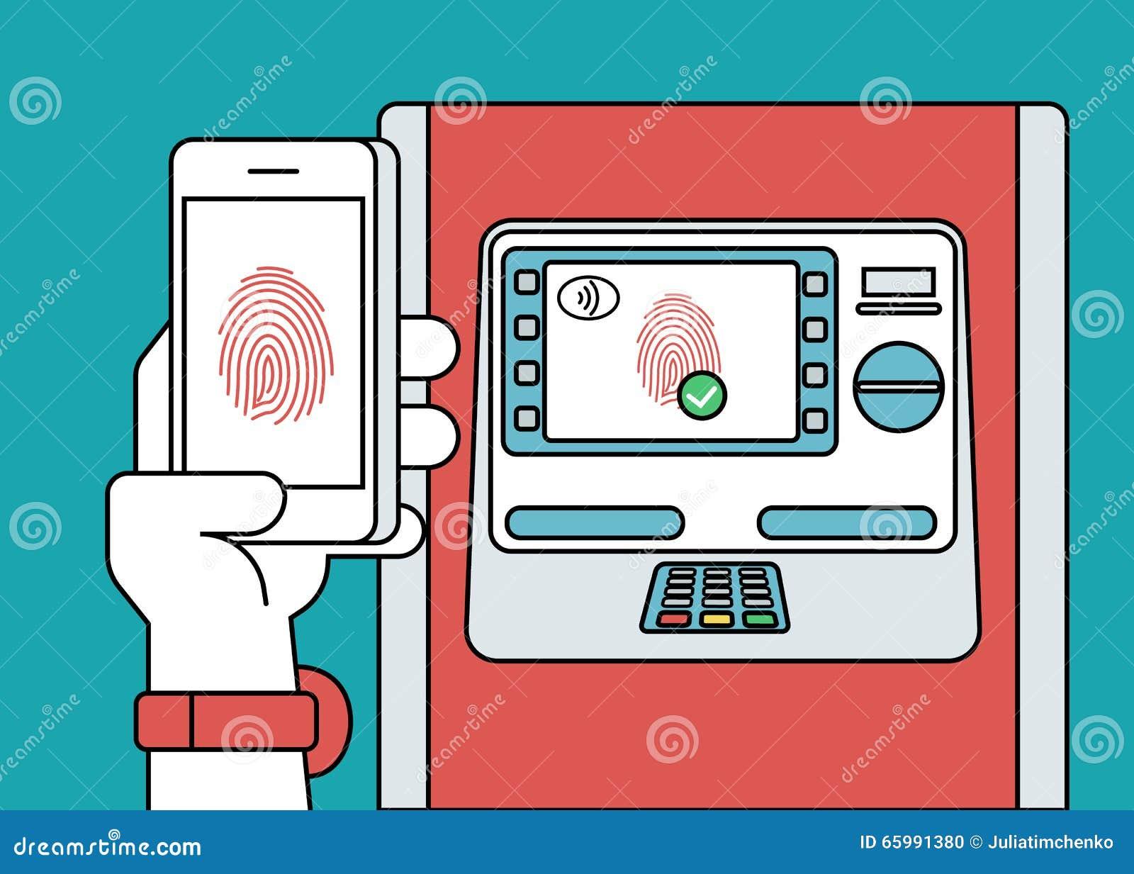 Mobiler Zugriff zu ATM über Smartphone unter Verwendung der Fingerabdruckidentifizierung