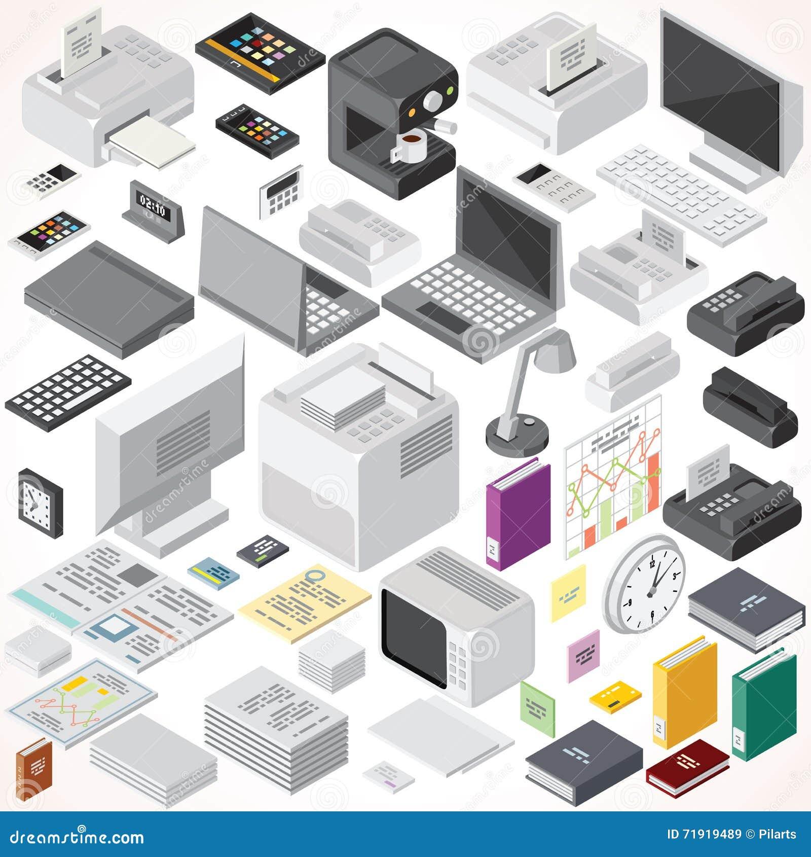 Mobili d 39 ufficio isometrici e oggetti interni for Stock mobili ufficio