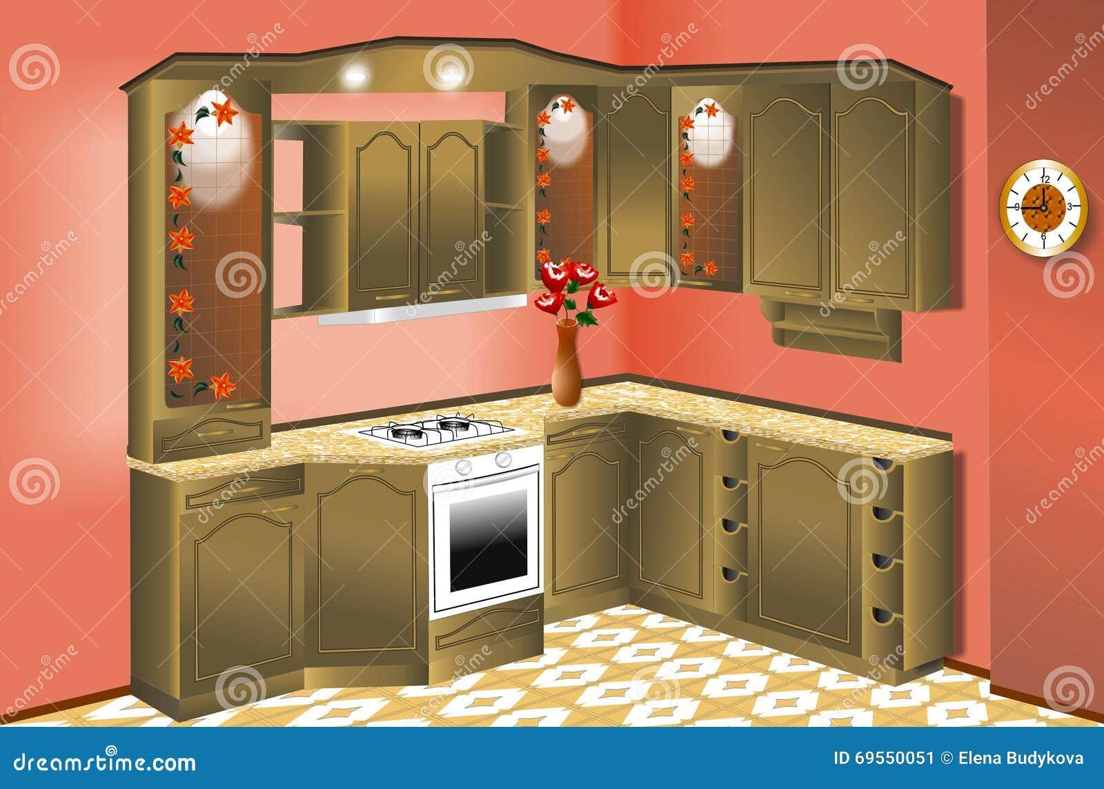 Mobilia della cucina illustrazione di stock illustrazione for Mobilia download
