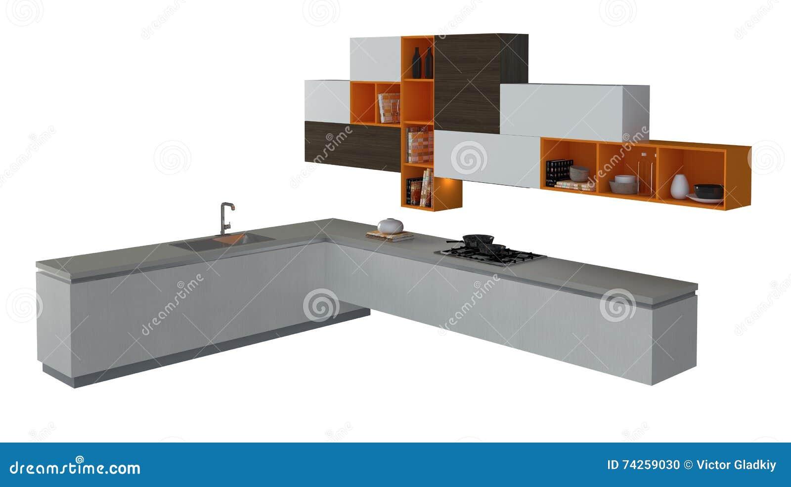 Mobilia della cucina isolata sull 39 illustrazione bianca 3d for Mobilia cuisine