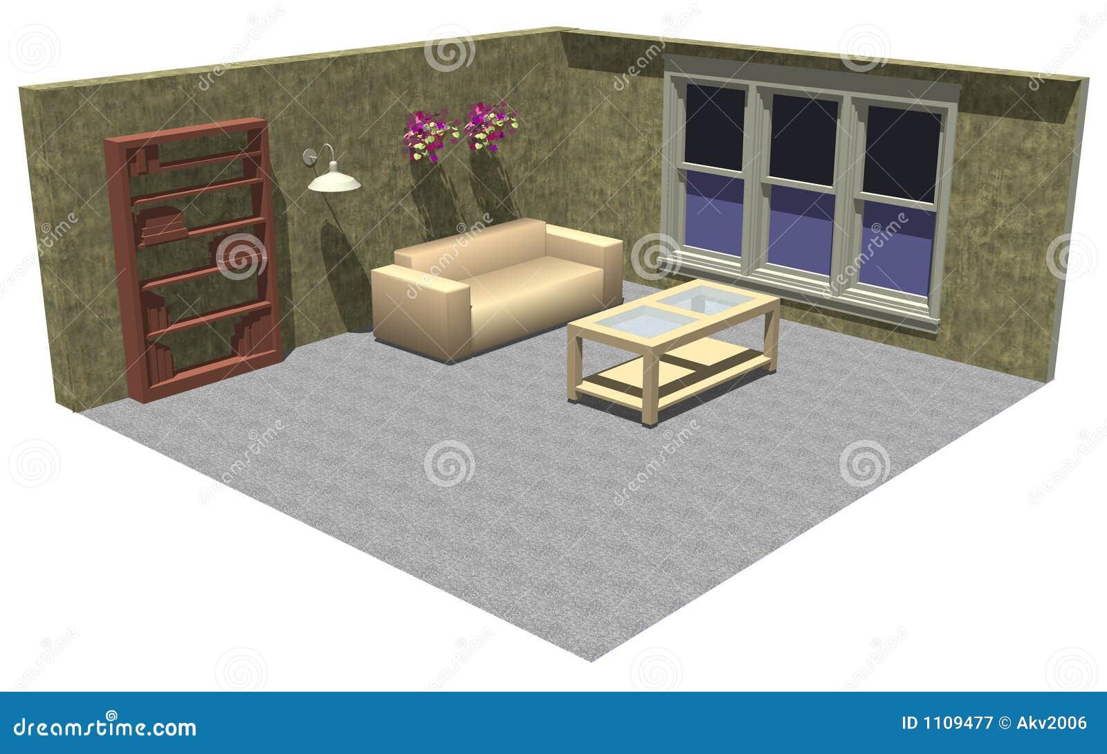 mobilia della stanza 3d illustrazione di stock