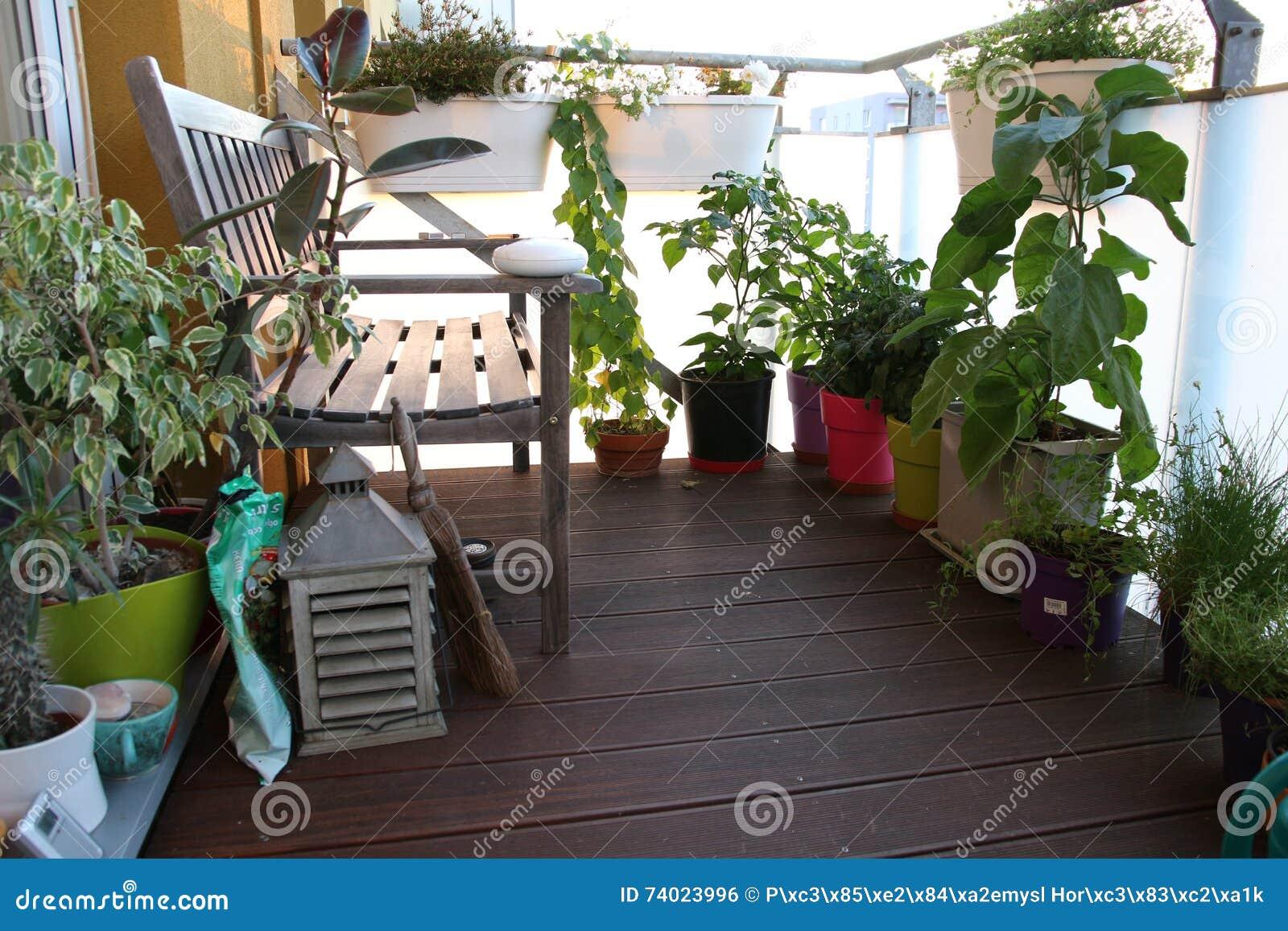 Piccolo Giardino Sul Balcone : Mobilia e un piccolo giardino sul terrazzo fotografia stock