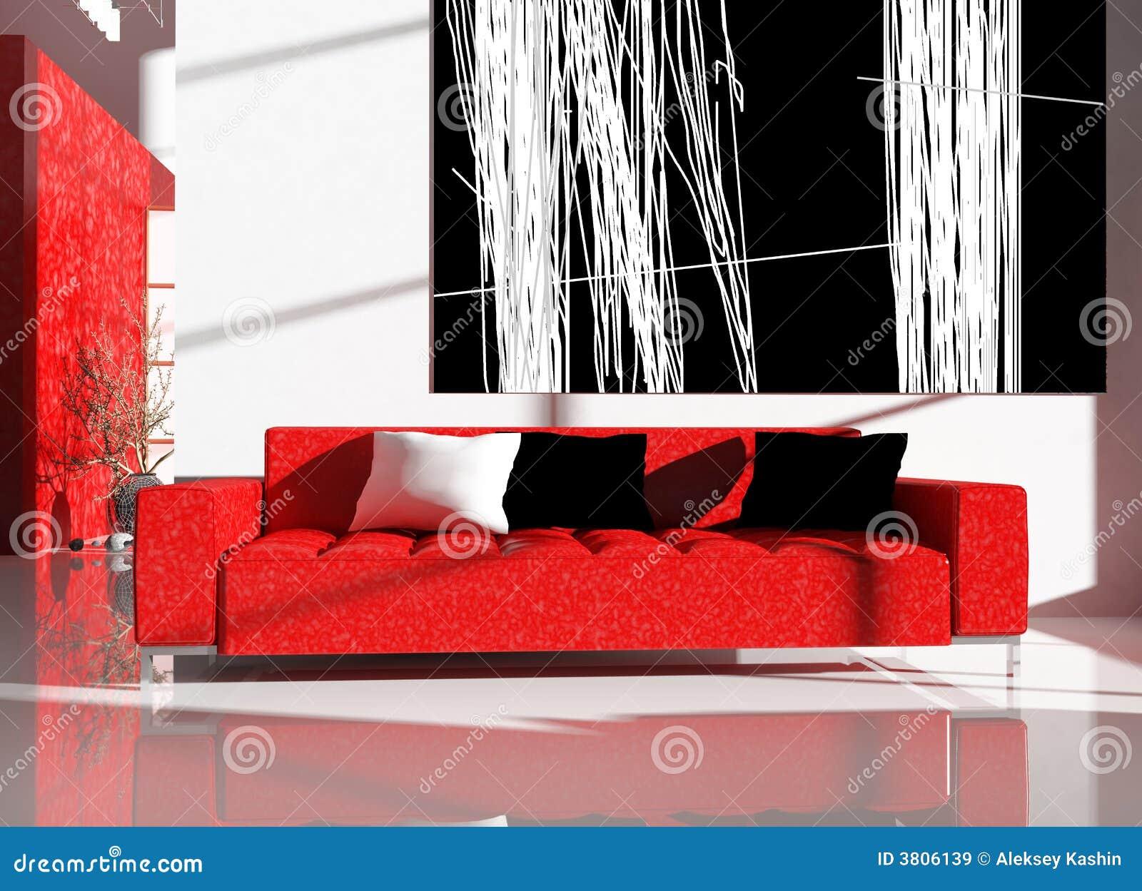 Mobilia rossa in un interiore