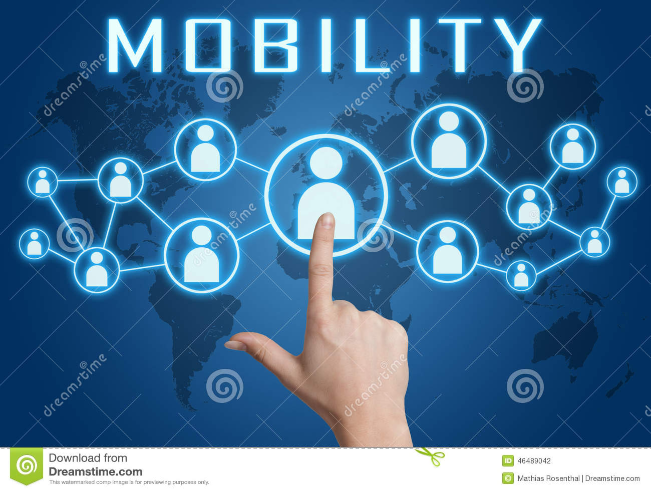 Mobility Concept Hand Pressing Social Icons Blue World Map Background