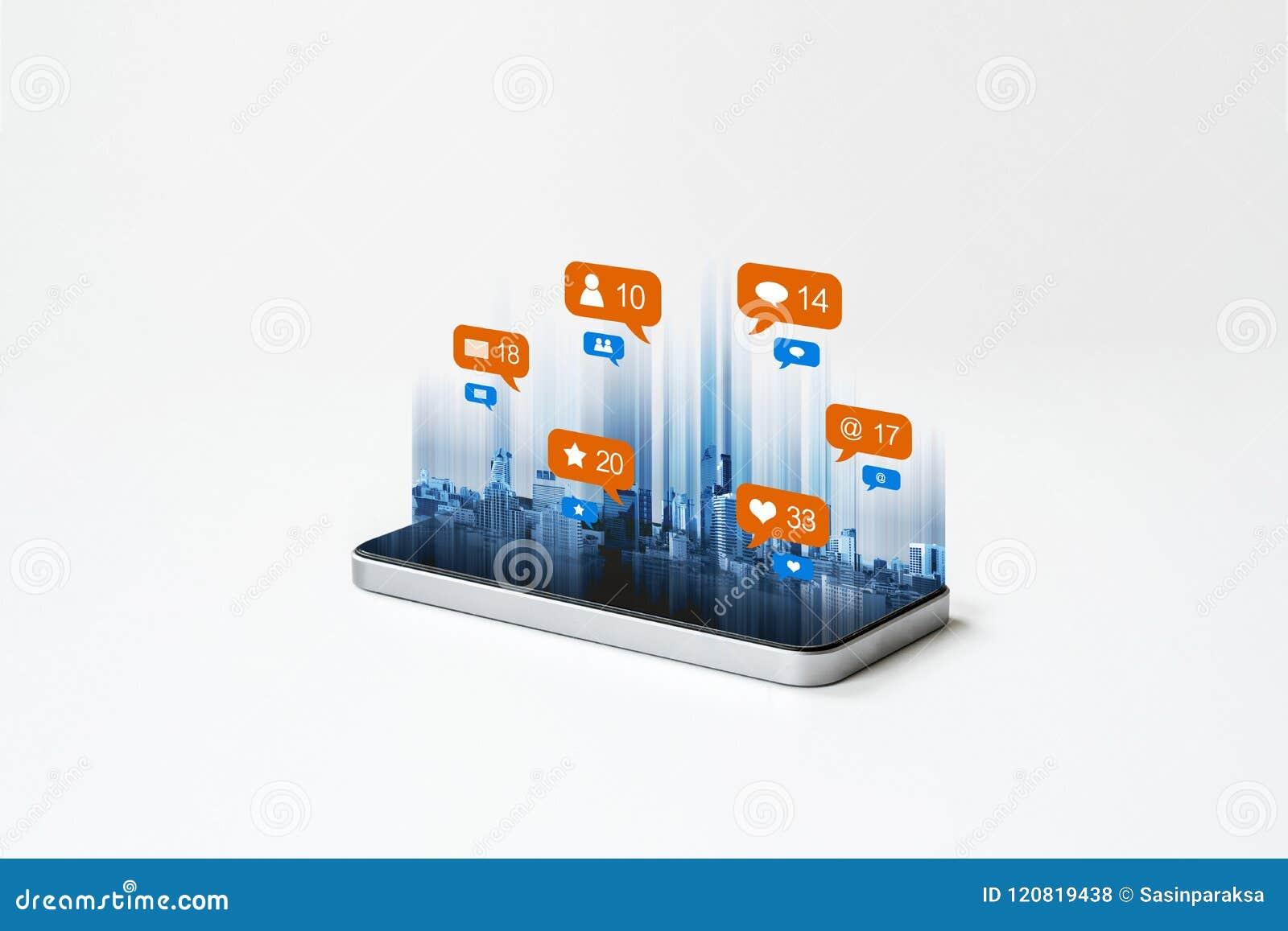 Mobilna mądrze telefon technologia z ogólnospołecznymi środkami, ogólnospołeczne sieci powiadomienia ikony Na białym tle