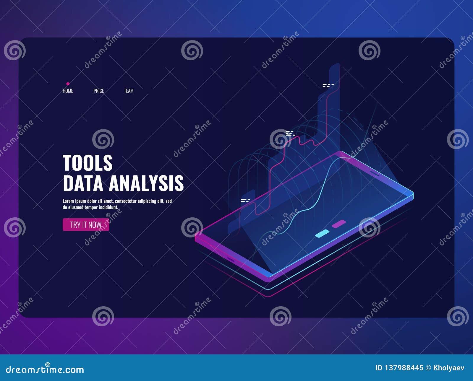 Mobilna usługowych dane analiza i informacji statystyki, pieniężny raport, online bank ikony isometric wektorowa ilustracja