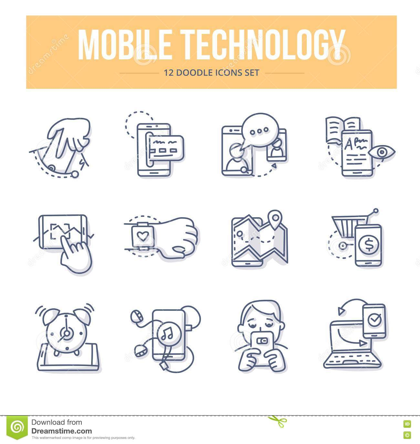 Mobilne technologii Doodle ikony