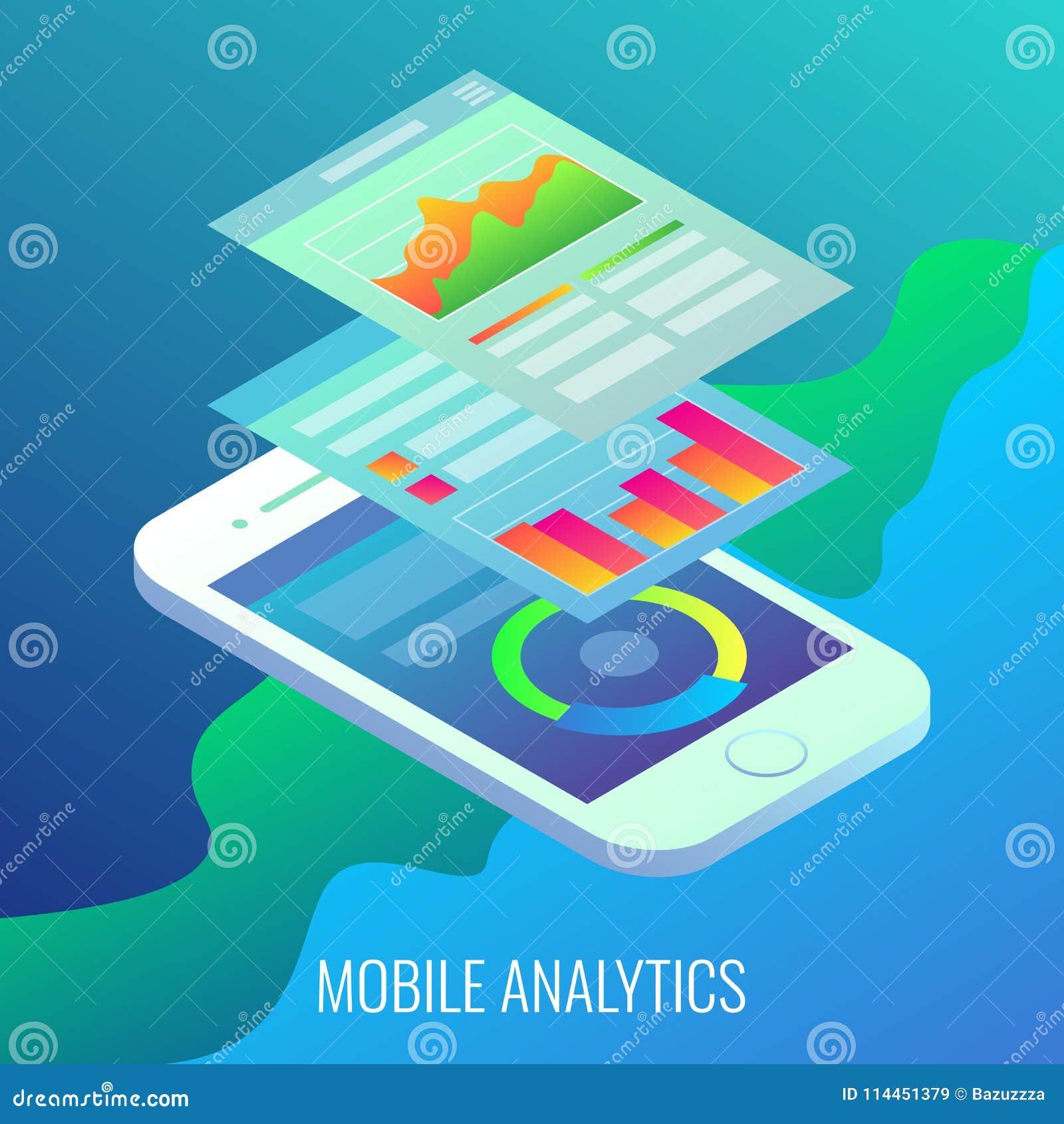 Mobilnego analityki pojęcia wektorowa płaska isometric ilustracja