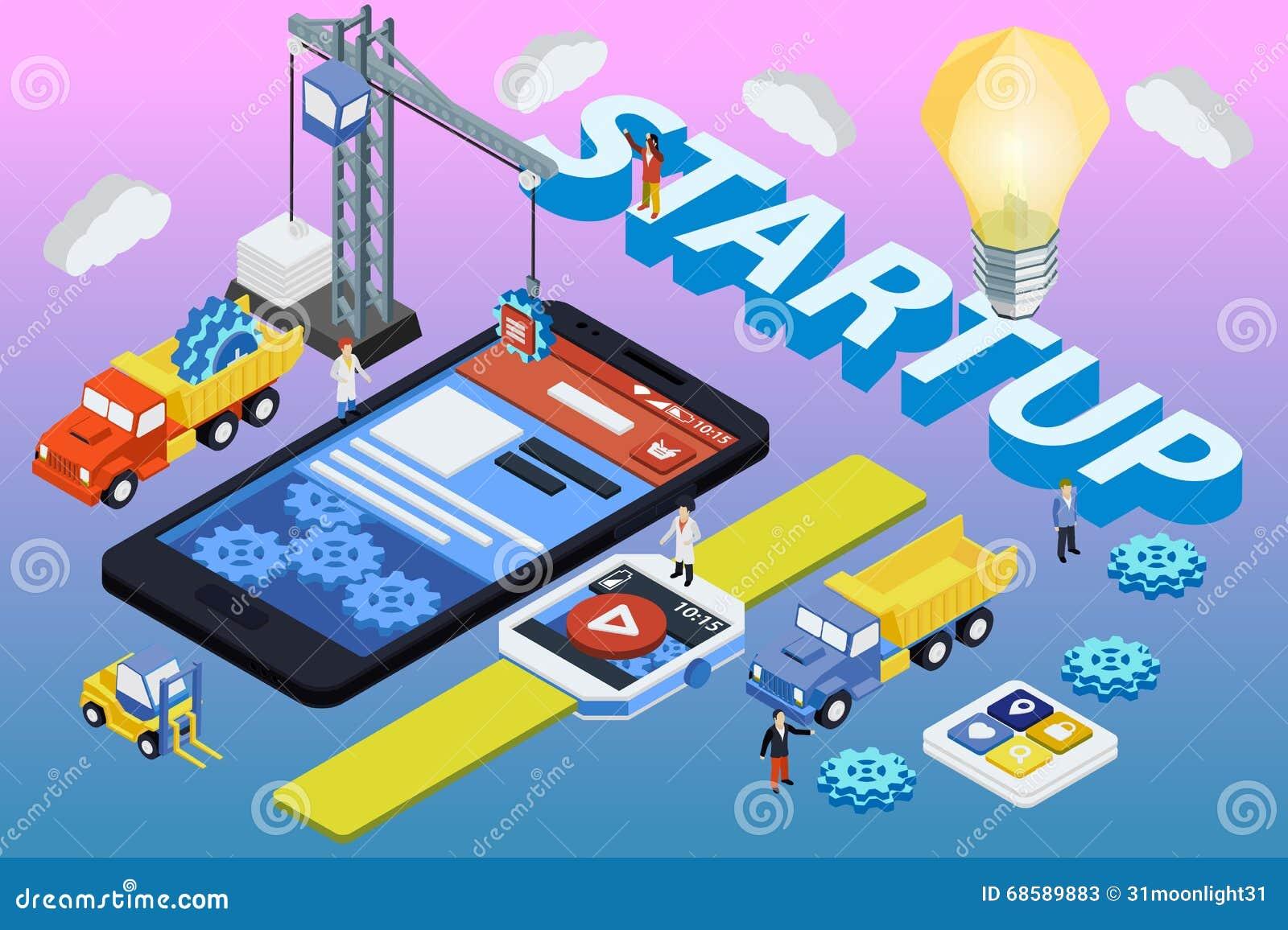 Mobilny App rozwój, Doświadczająca drużyna Mieszkanie 3d isometric