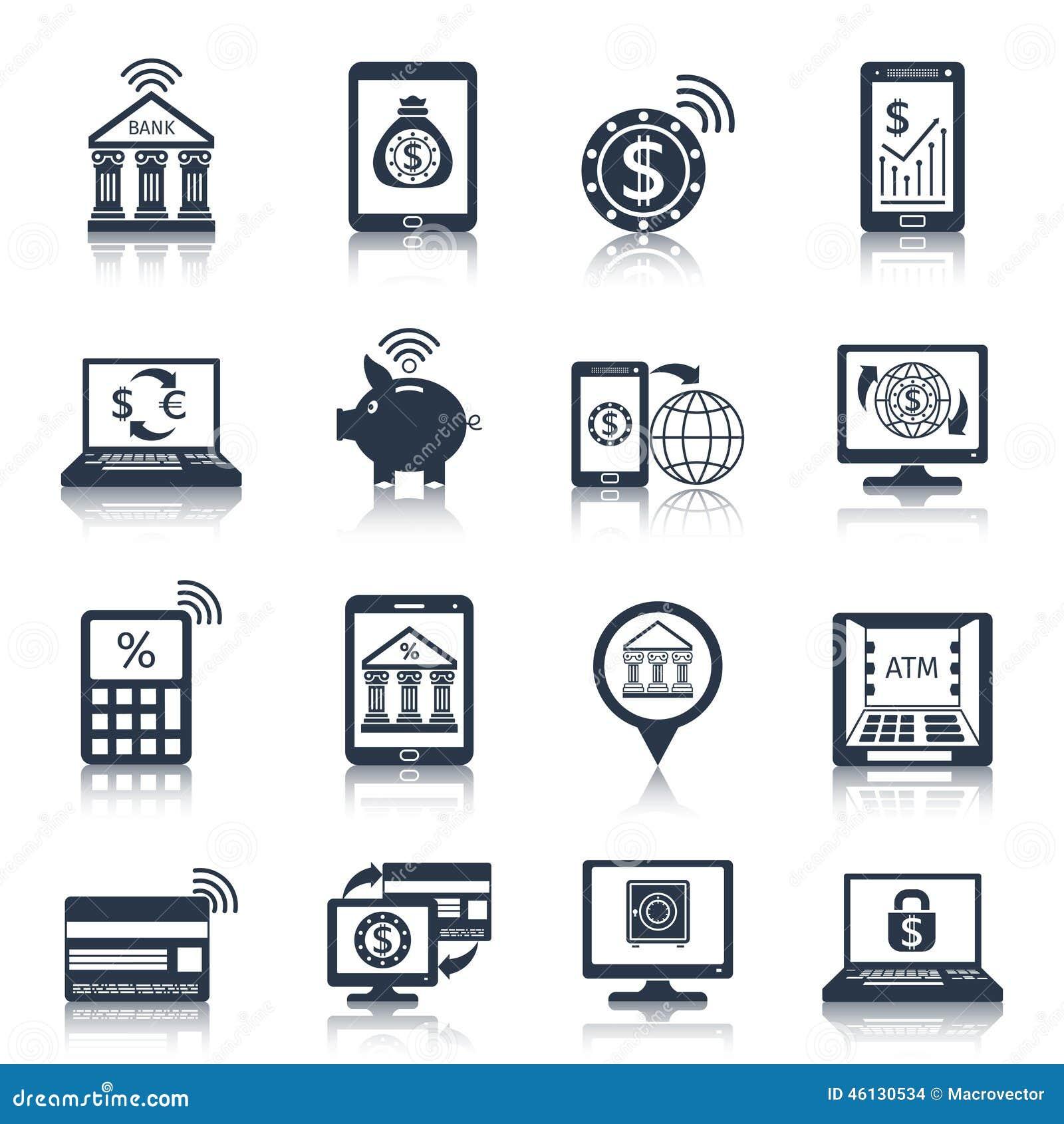 Mobilny bankowość ikon czerń
