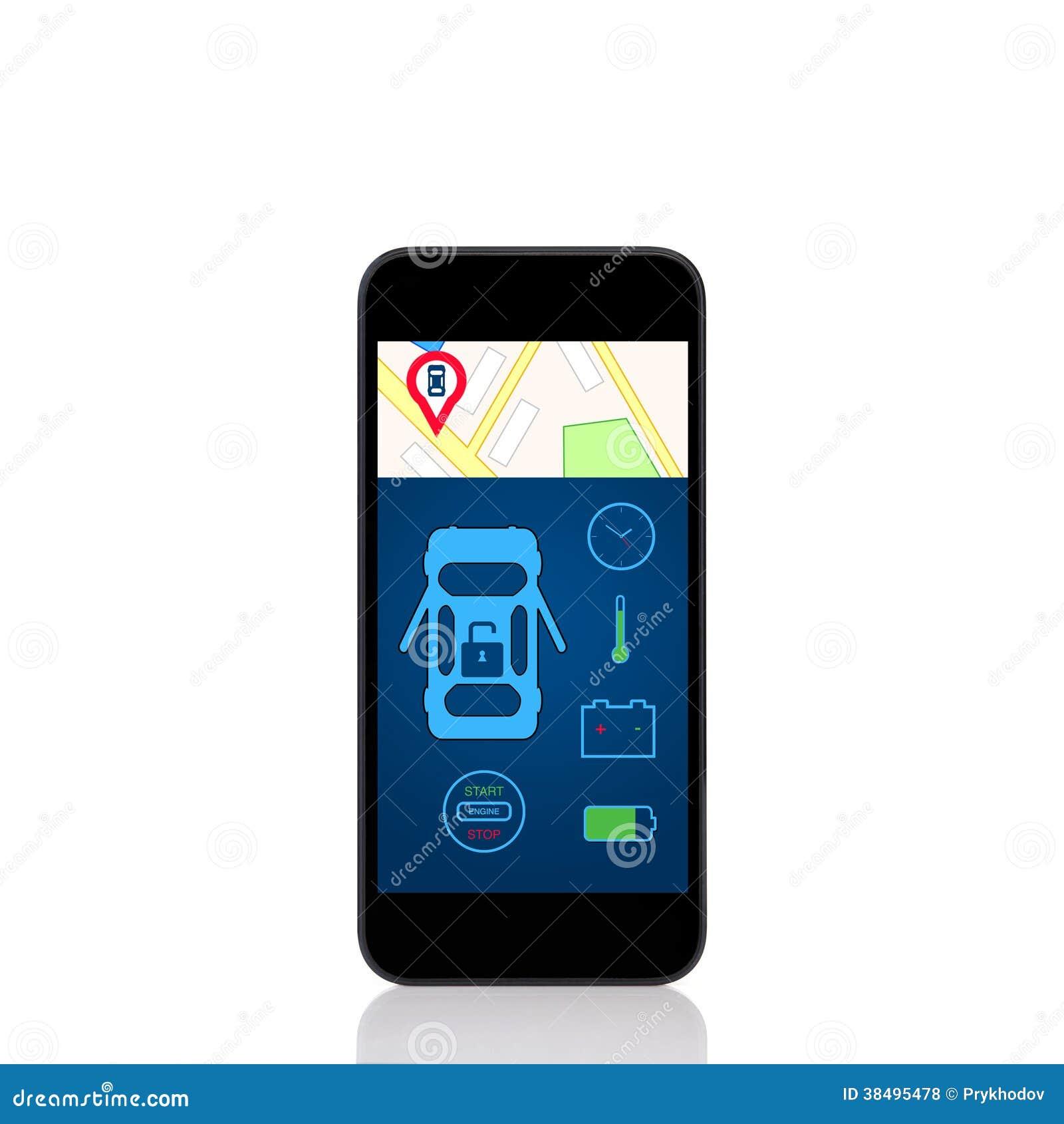 Mobilny dotyka telefon z samochodu alarma interfejsem na ekranie
