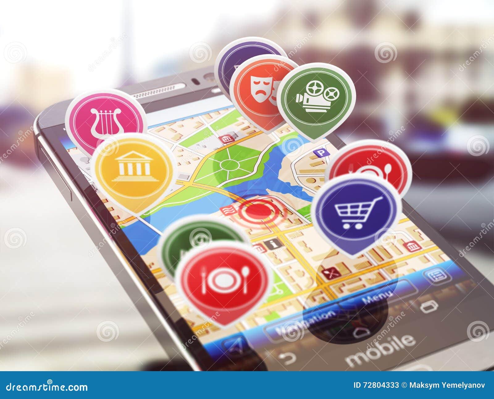 Mobilny GPS nawigaci pojęcie Smartphone i zastosowanie z r