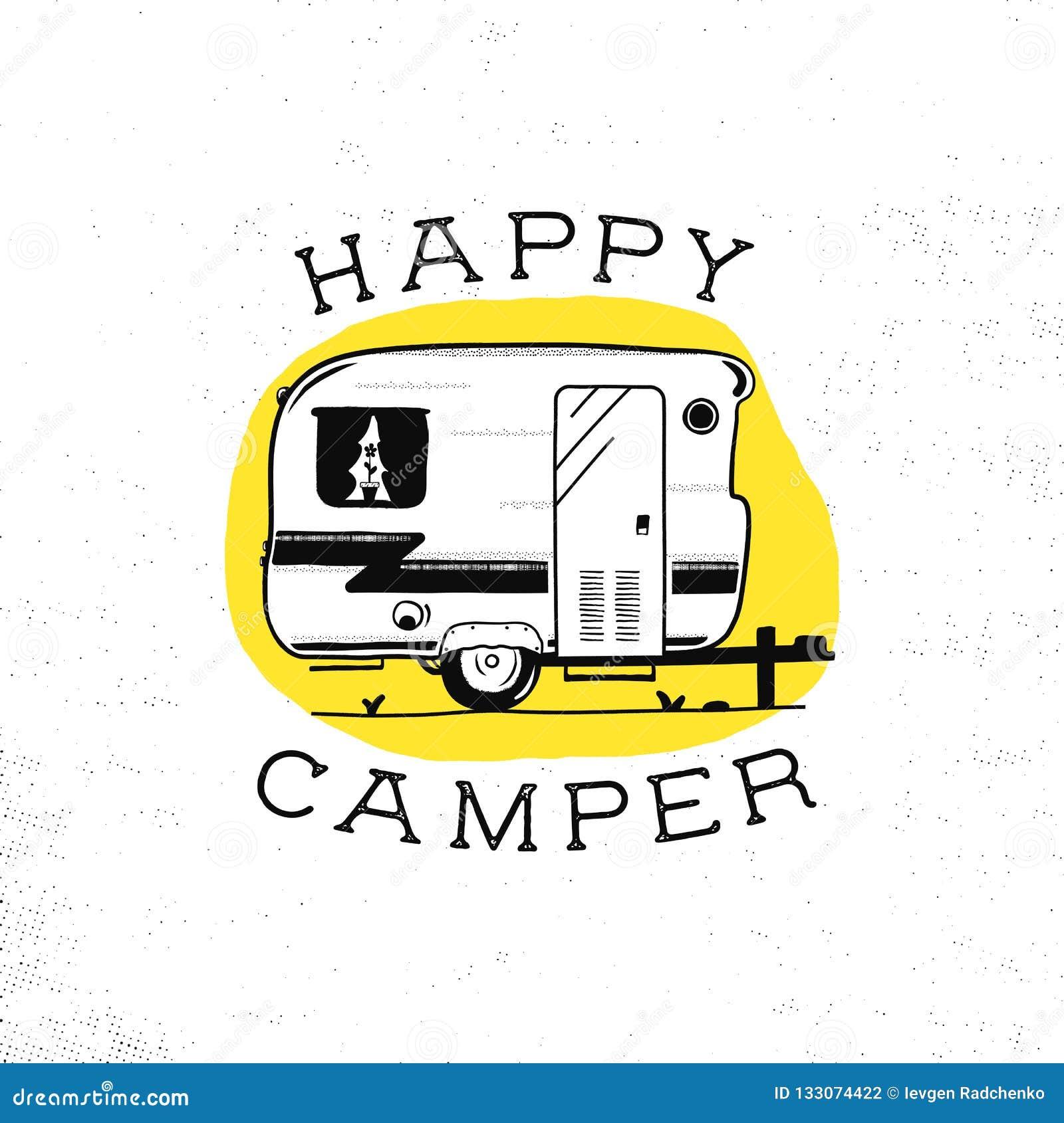 Mobilny odtwarzanie Szczęśliwego obozowicza przyczepa w nakreślenie sylwetki stylu Rocznika ręka rysujący obóz rv Dom na kołach P