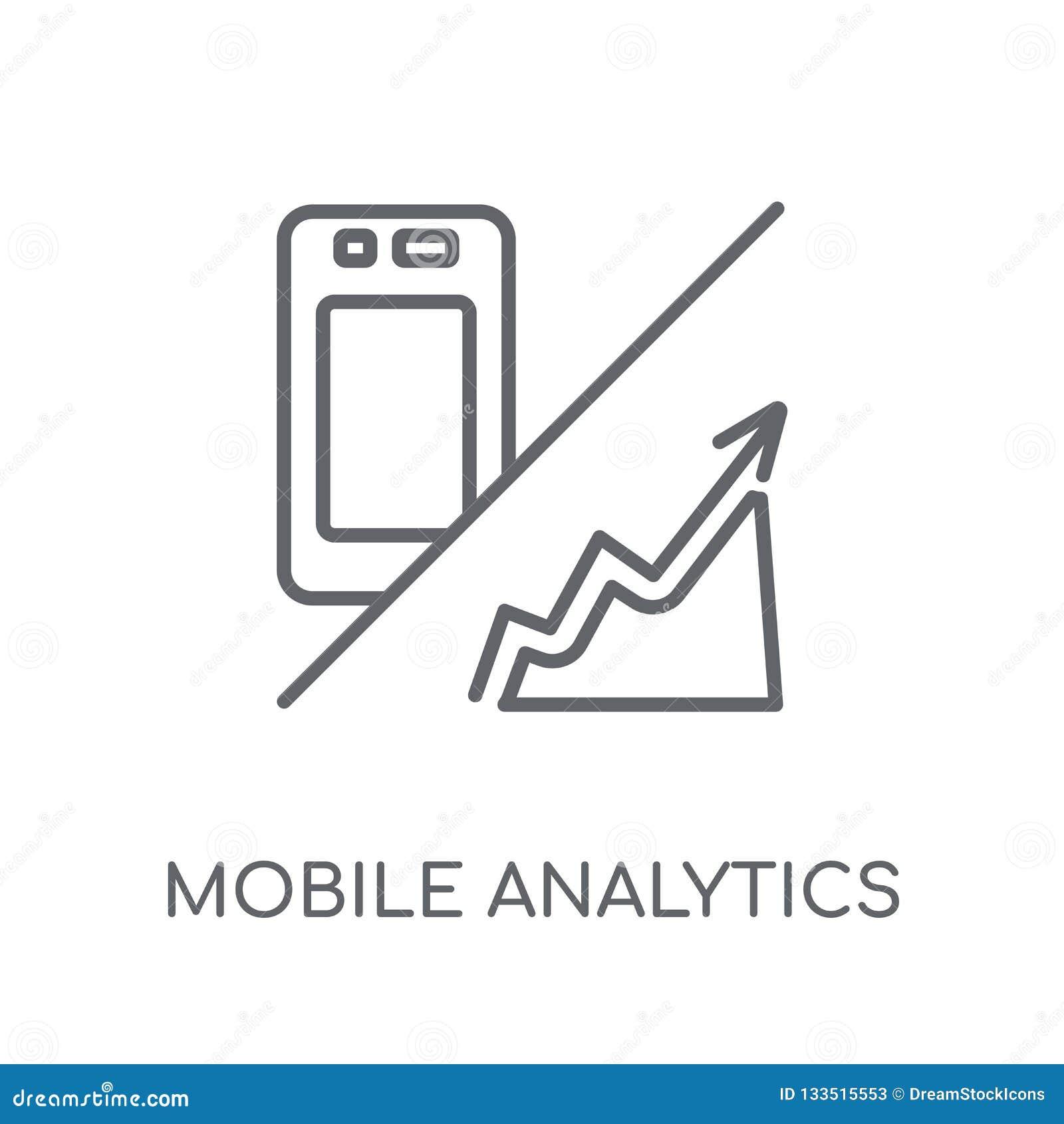 Mobilnych analityka liniowa ikona Nowożytnego konturu analityka Mobilny lo