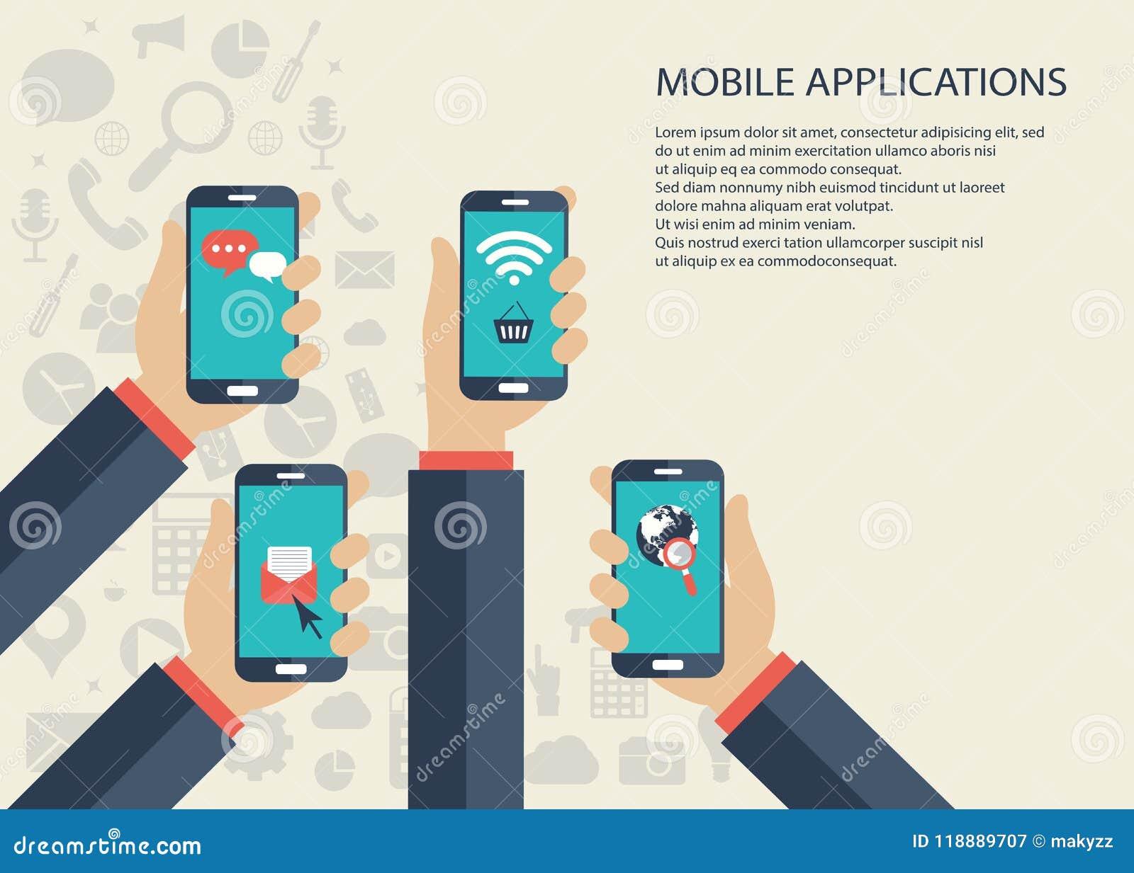 Mobilt applikationbegrepp Händer med telefoner Plan vektorillustration