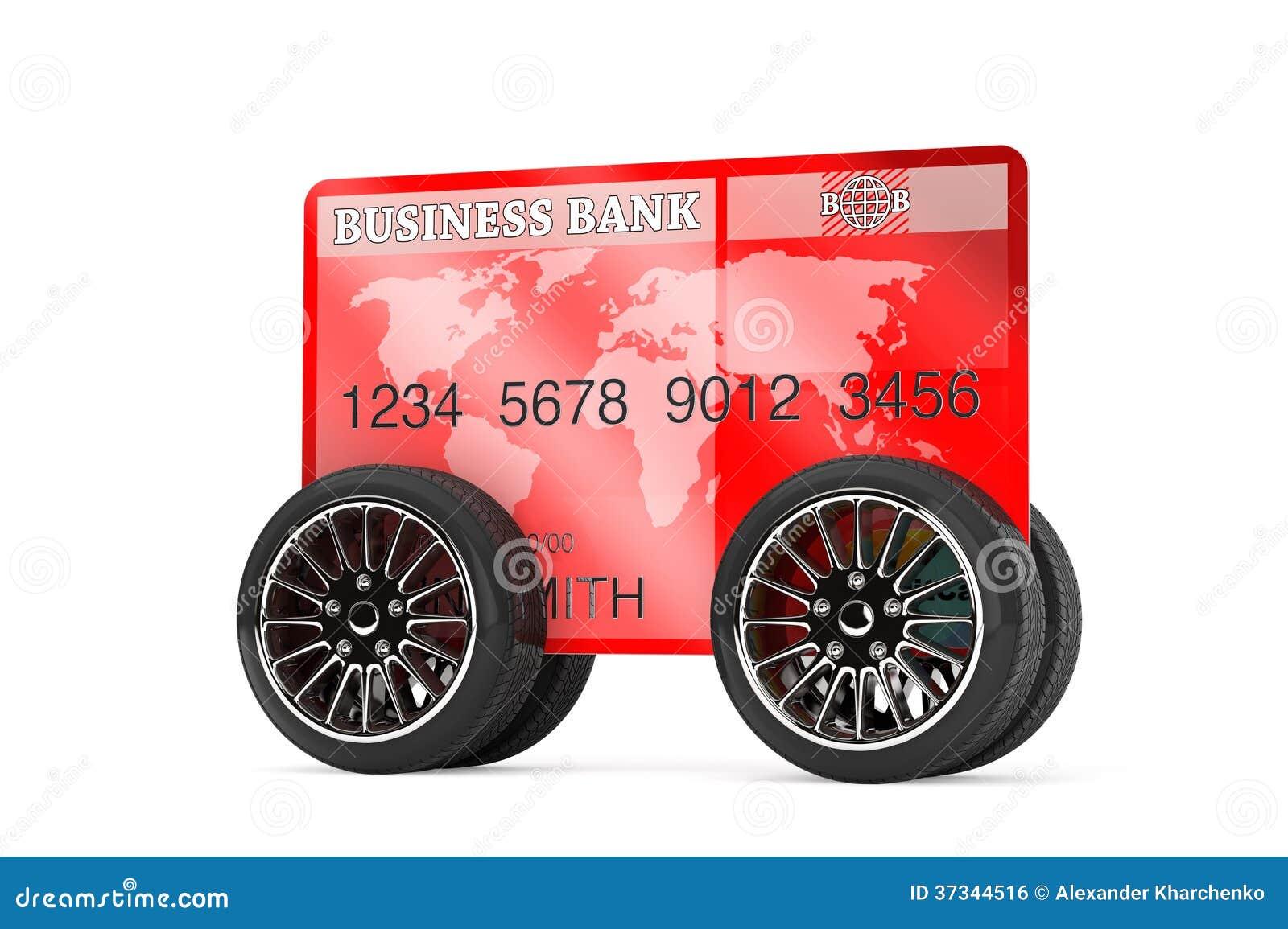 Mobilt bankrörelsebegrepp. Kreditkort på hjul