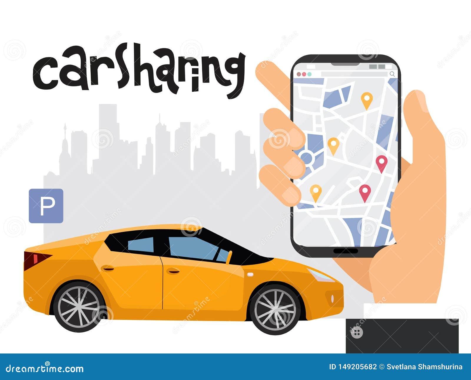 Mobilt stadstrans.begrepp, online-dela för bil med den manliga handinnehavsmartphonen Översikt av staden med tecken av