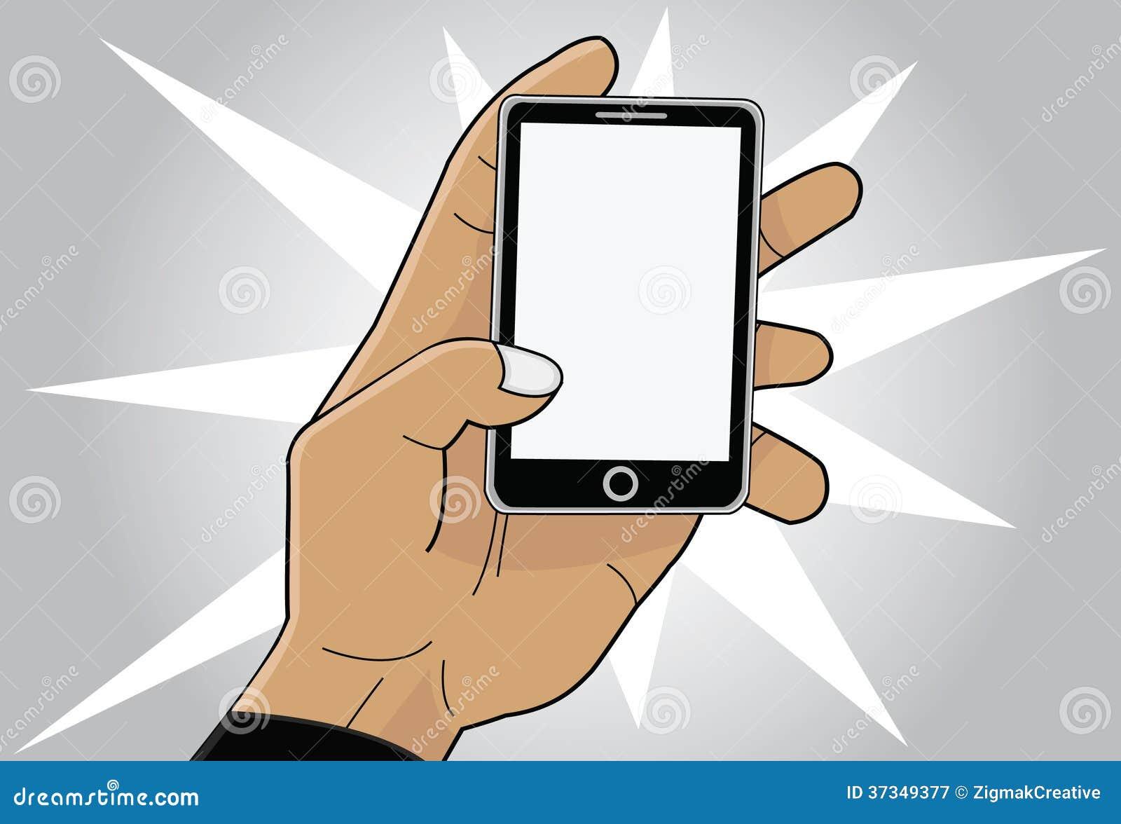 Mobiltelefon i hand