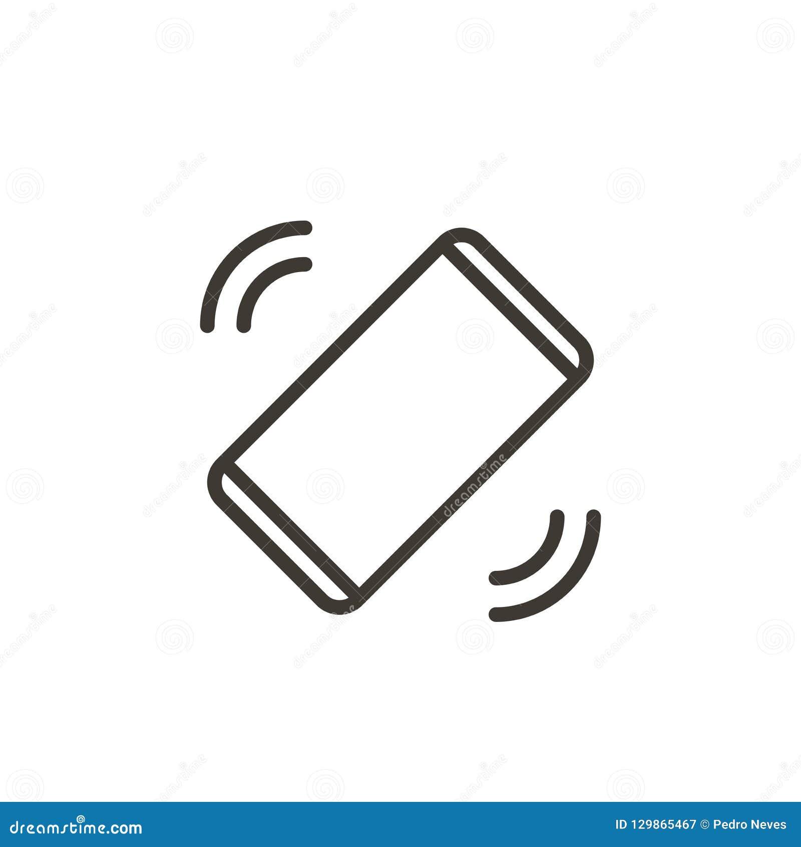 Mobiltelefon som ringer eller vibrerar motta en appell eller ett meddelande Tunn linje symbol för vektor av en smartphone,