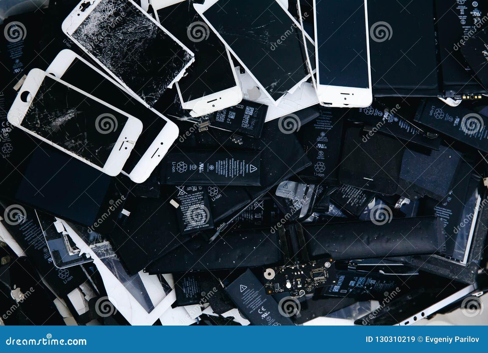 Mobiltelefonbatterier, minnestavlor, bruten skärmLCD-iPhone