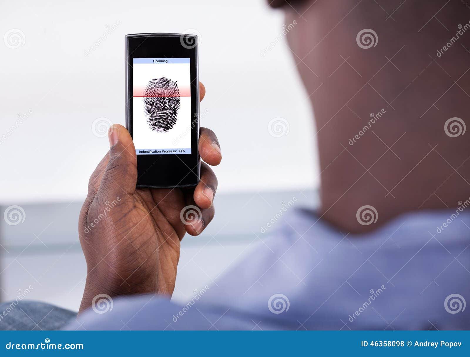 Mobiltelefonlegitimation genom att använda fingeravtryckbildläsning