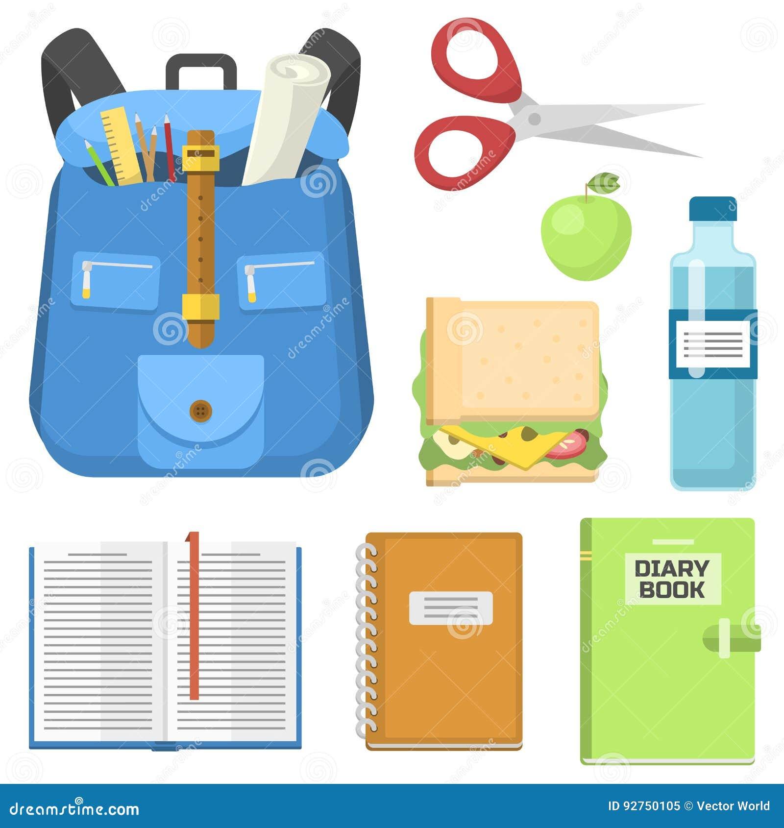 Mochila del bolso de escuela por completo del ejemplo educativo del vector del saco de la cremallera inmóvil de los niños de las