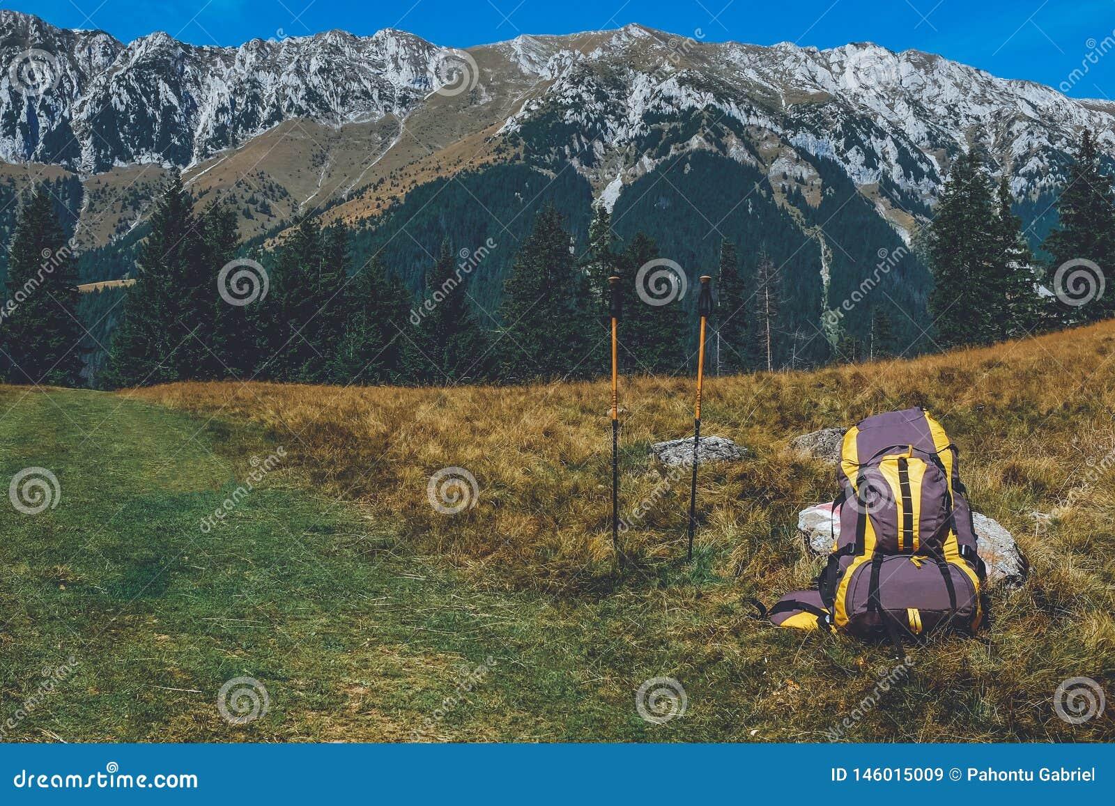 Mochila y bastones en rastro de montaña