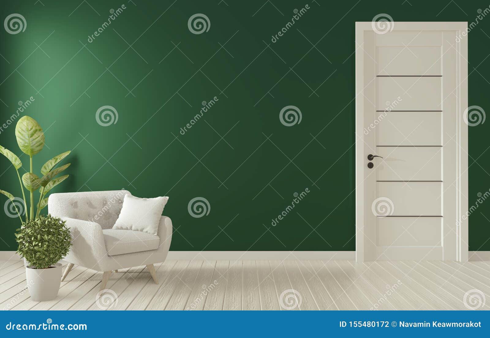 Mock omhoog - Mock omhoog posterframe op donkergroene woonkamer binnenshuis 3D-rendering