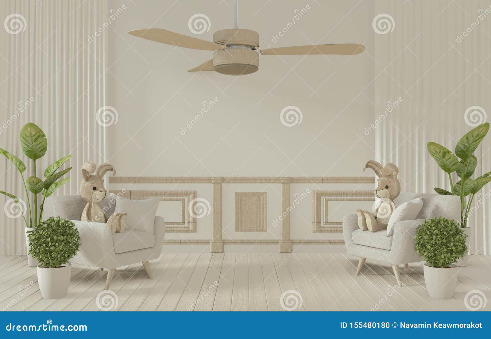 Mock omhoog - Mock witte ruimte binnenshuis en decoratie op 3D-rendering