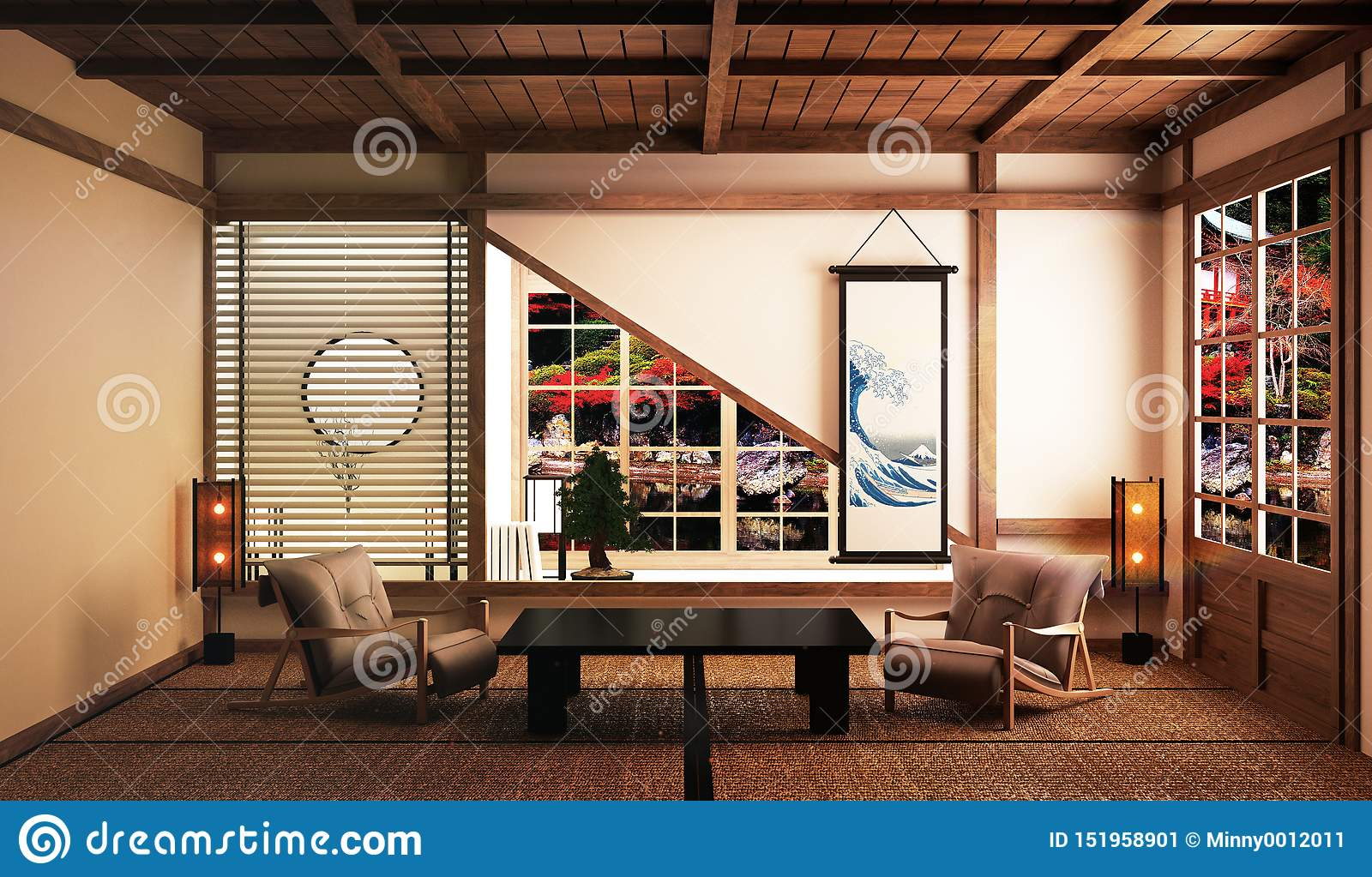 Beautiful Living Room With Low Table,arm Chairs,bonsai Tree ...