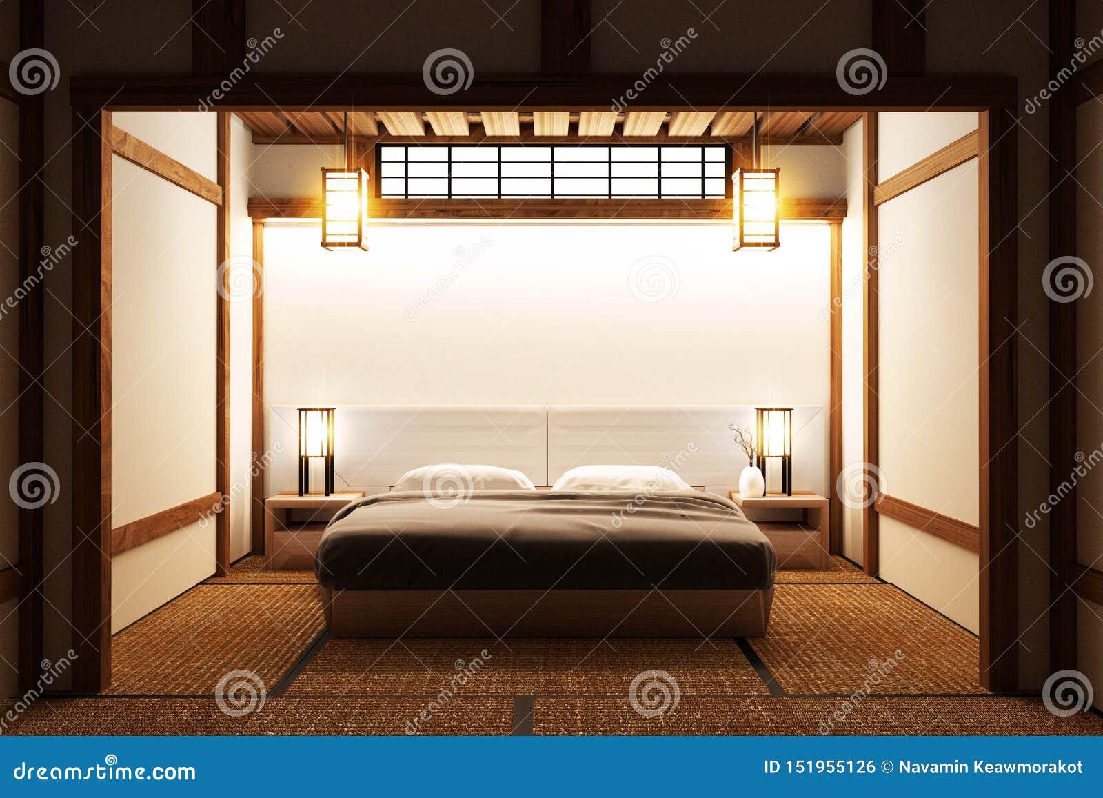 Bed Room Original Japanese Interior Design 3d Rendering Stock Illustration Illustration Of Korean Leaves 151955126