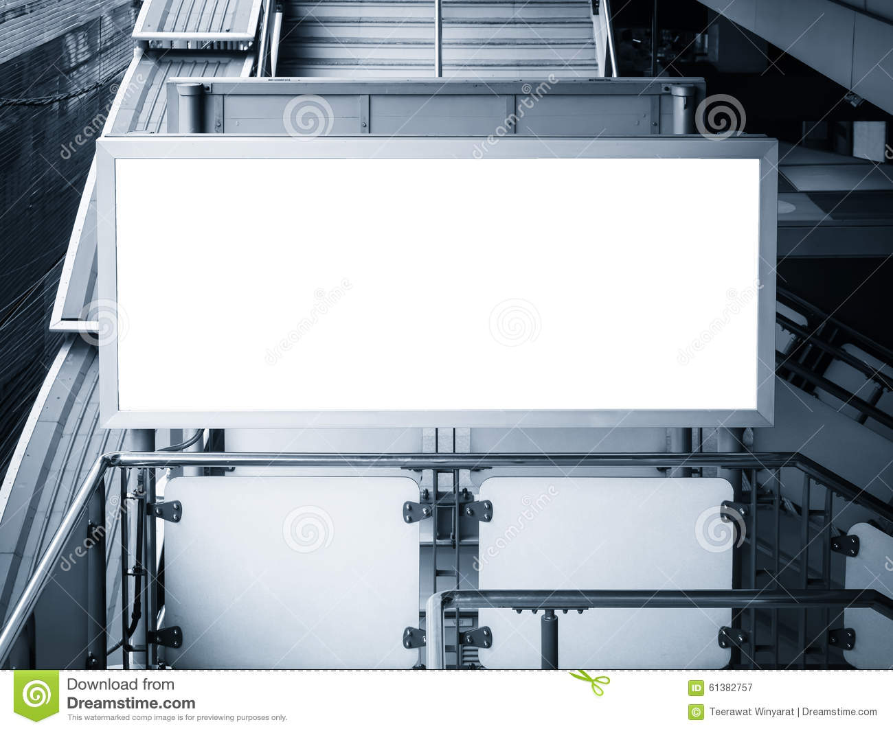 mock up billboard banner template display in station stock image
