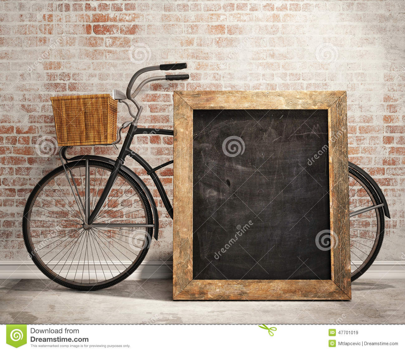 Background Bicycle Black Board Design Interior Loft Mock