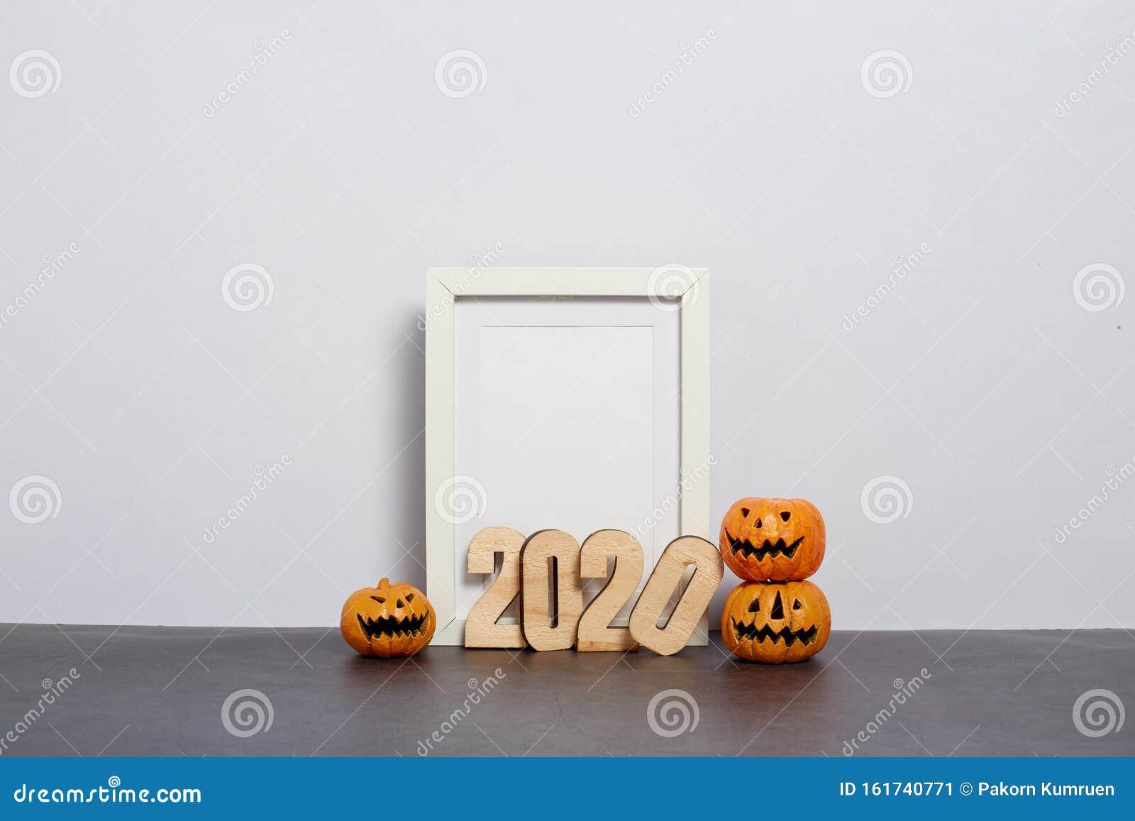 Halloween 2020 Cop Jackolantern Mock Up Black Frame With Jack O Lantern Stock Image   Image of