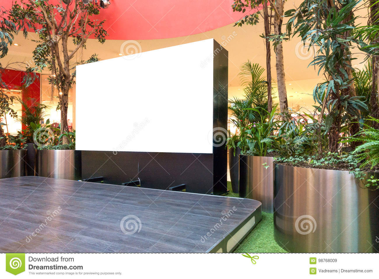 Mock up. Blank billboard, advertising stand in modern shopping mall