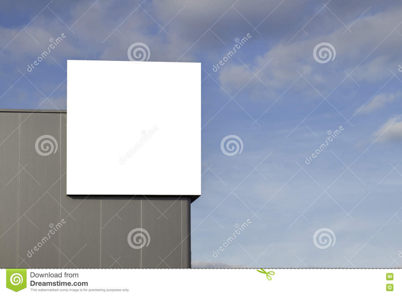 Mock up. Blank billboard outdoors, outdoor advertising on the wall of a building blue sky background