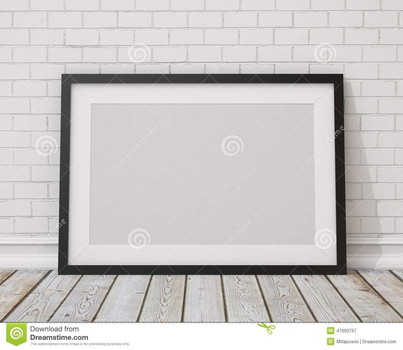 Mock up blank black horizontal picture frame on the white concrete wall and the vintage floor