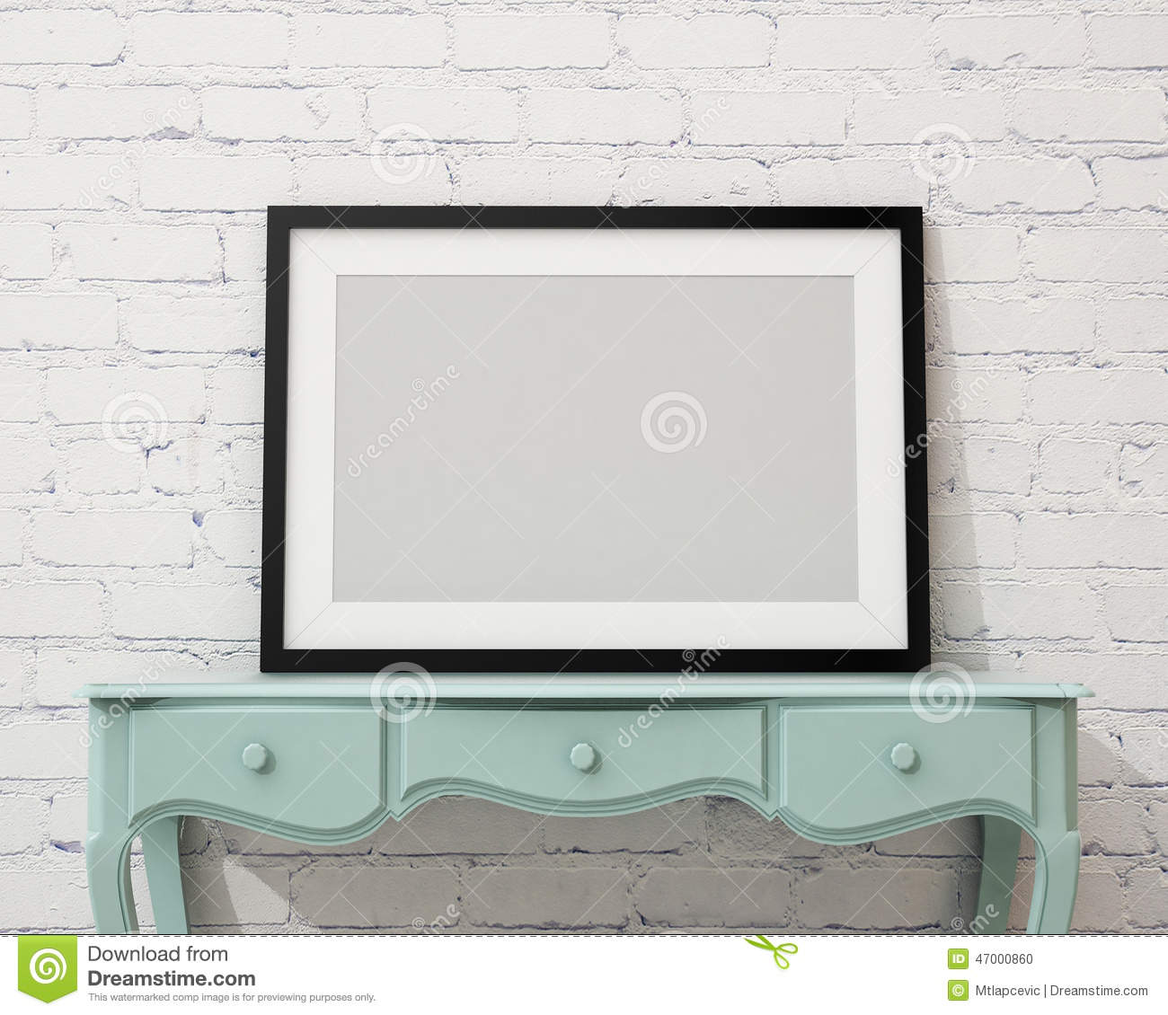 Mock up blank black picture frame on the white desk and for Wall art templates free