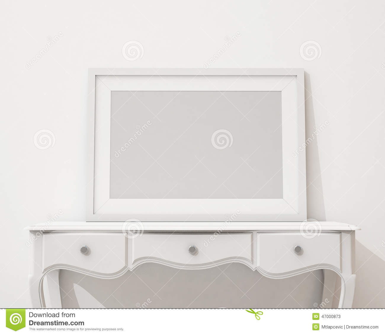 Mock Up Blank Black Picture Frame On The White Desk And