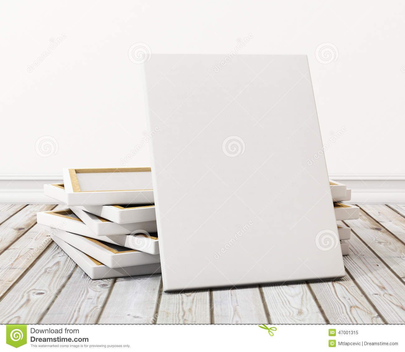 Stock Illustration: Mock up blank canvas or poster with pile of canvas ...