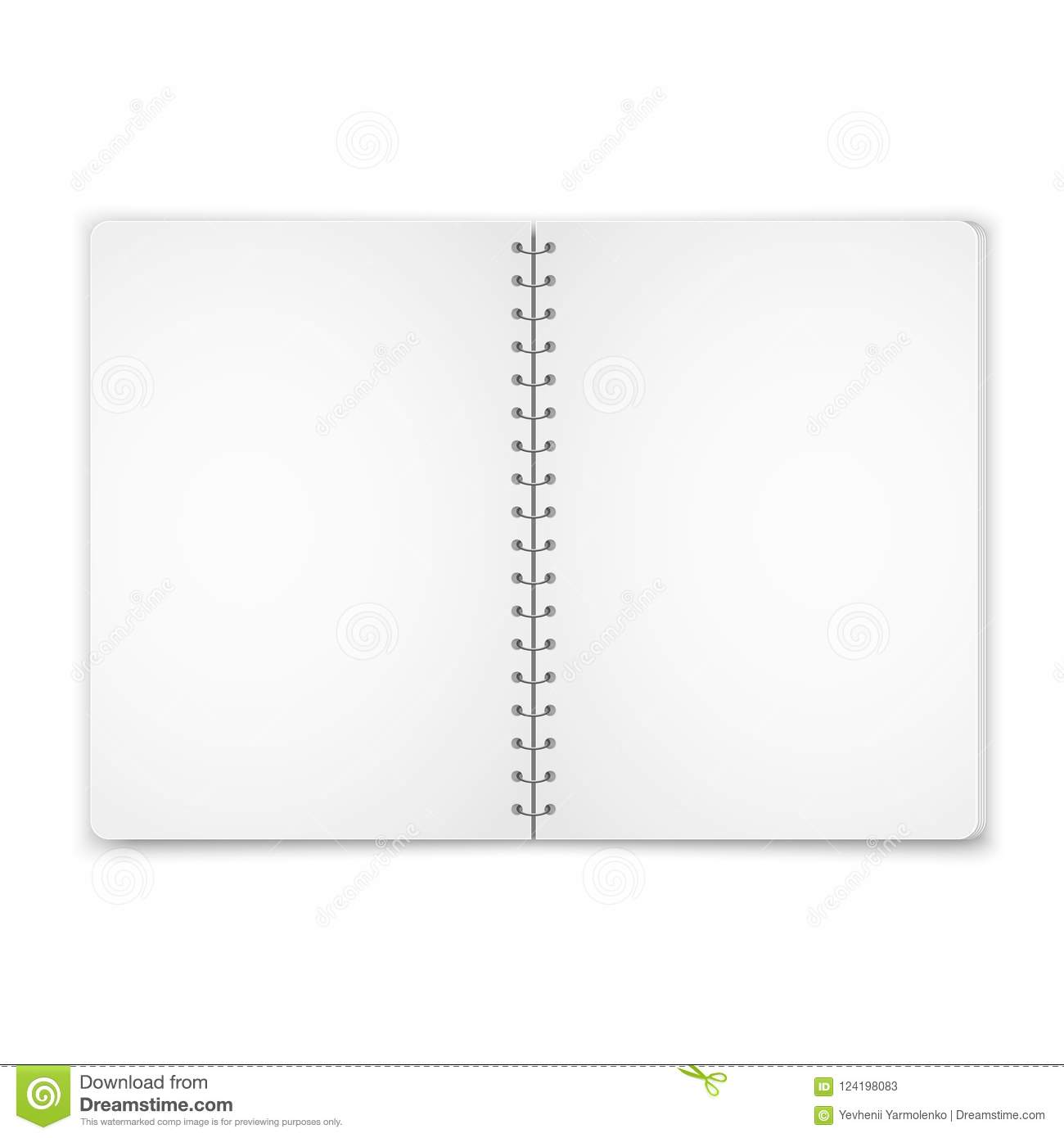 mock up blank open notebook with metal spiral template isolated on
