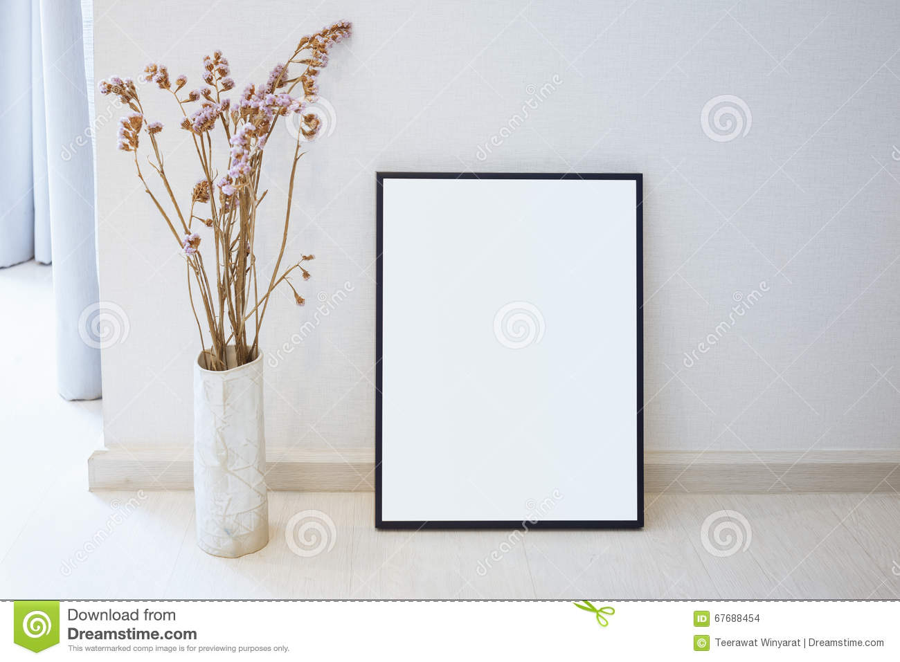 Mock up blank photo frame on floor home interior decoration stock photo image 67688454 - Deco moderne binnenmuur ...