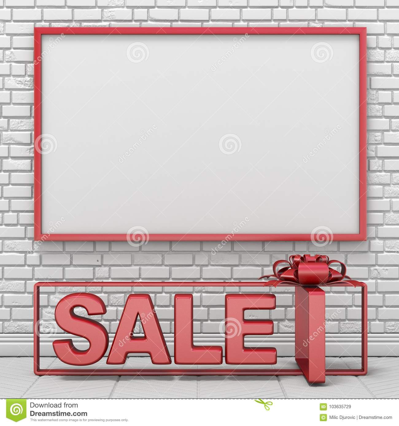 Mock Up Blank Picture Frame And Text SALE Into Gift Box 3D Stock ...