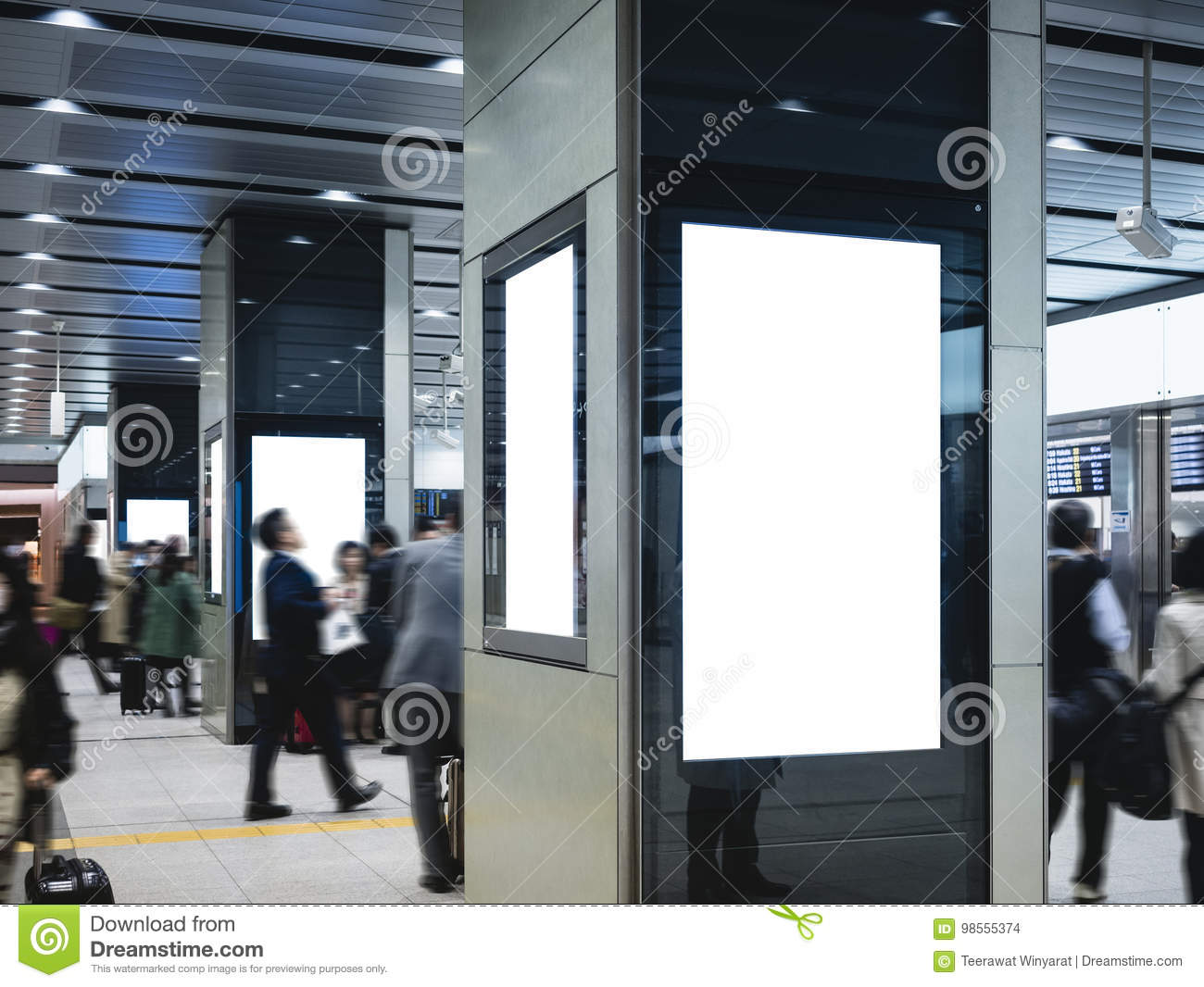 Mock up Blank Poster Public Interior building Blur people