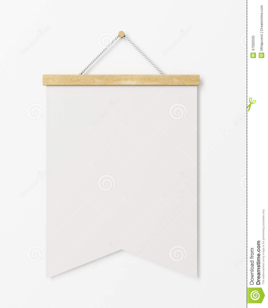 Mock up blank poster flag with wooden frame hanging on the for Template for hanging pictures
