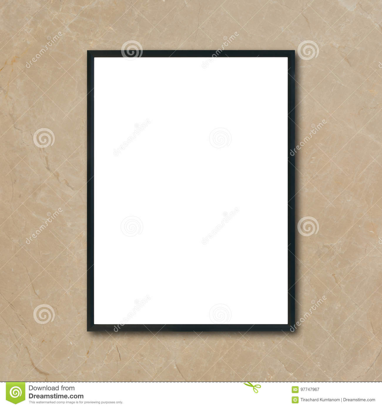 Mock up blank poster picture frame hanging on brown marble wall in room