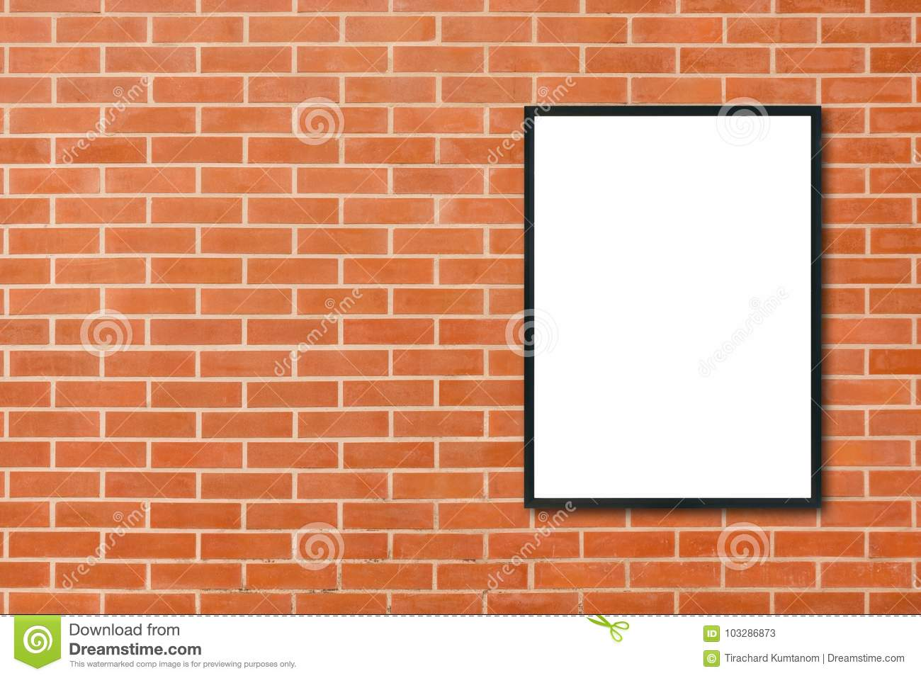 Mock up blank poster picture frame hanging on red brick wall background in room - can be used mock up for montage products display