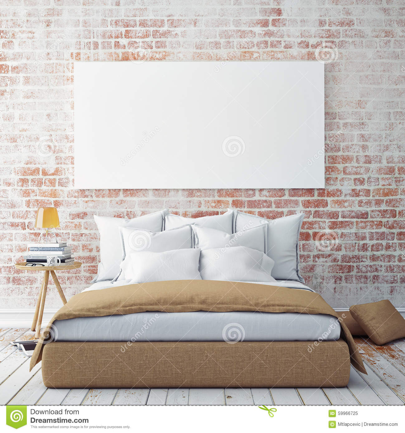 Mock Up Blank Poster On The Wall Of Bedroom, Stock ...